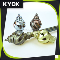 KYOK curtain rod accessories beautiful finials curtain pole, diamond and crystal curtain finial, fancy curtain leaf fittings