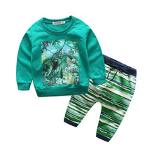 Baby Sports Suits Long Sleeved Prints T-shirts And Pants 2 Pcs Sets Of Children's Wear