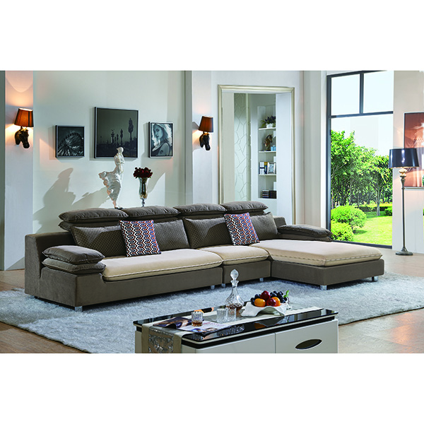 Lifestyle Living Contrast Brown Color Soft Comfortable Corner Sofas Cushion Pillow Upholster Fabric Sofa Set Hom Furniture