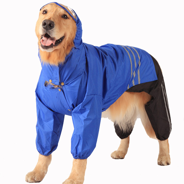 RoblionPet Hot waterproof raincoat / Three-piece rain coat reflective dog clothes for big large dogs wholesale