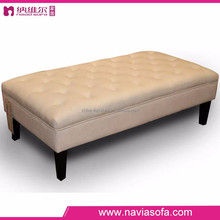 Fabric sofa Ottoman armless leisure chair long sofa chair with wooden leg
