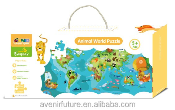 Learn Country Wise Natural Famous Animals of the World Based on World Map Jigsaw Cardboard Educational Toy Floor Puzzle for kids