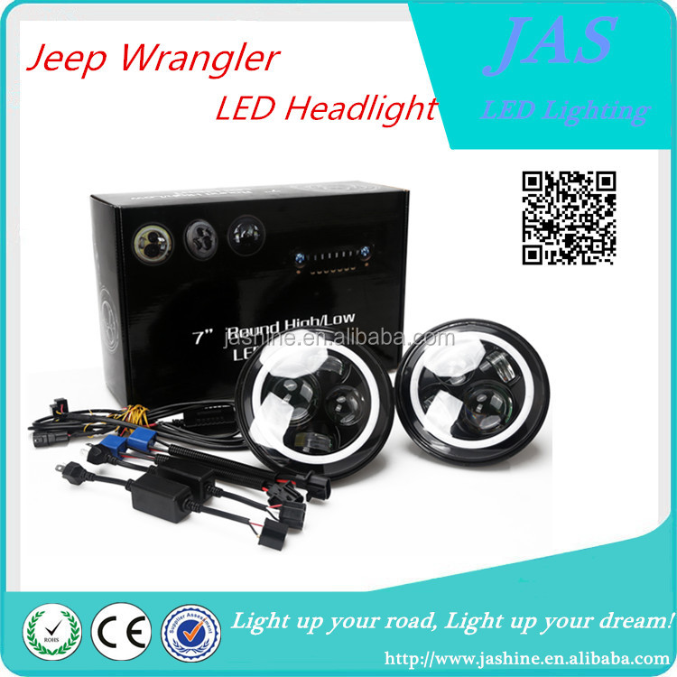 wholesale halo 7inch jeep wrangler led headlight 45w high /low beam headlight for jeep wrangle