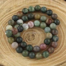 AB0519 Hot selling Beautiful Natural Frosted Indian Agate Round Beads,Matte Agate Stone Beads
