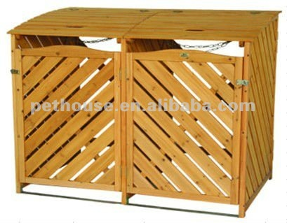 wooden Garbage Can refuse storage shed outdoor