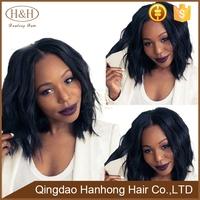 #1/#2/#4/Natural Color Natural Wavy Brazilian Virgin Human Hair Thick Short Bob Lace Front Wig For Black Woman
