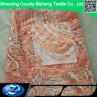 Beautiful peach african beaded soft french tulle lace fabric for women clothing