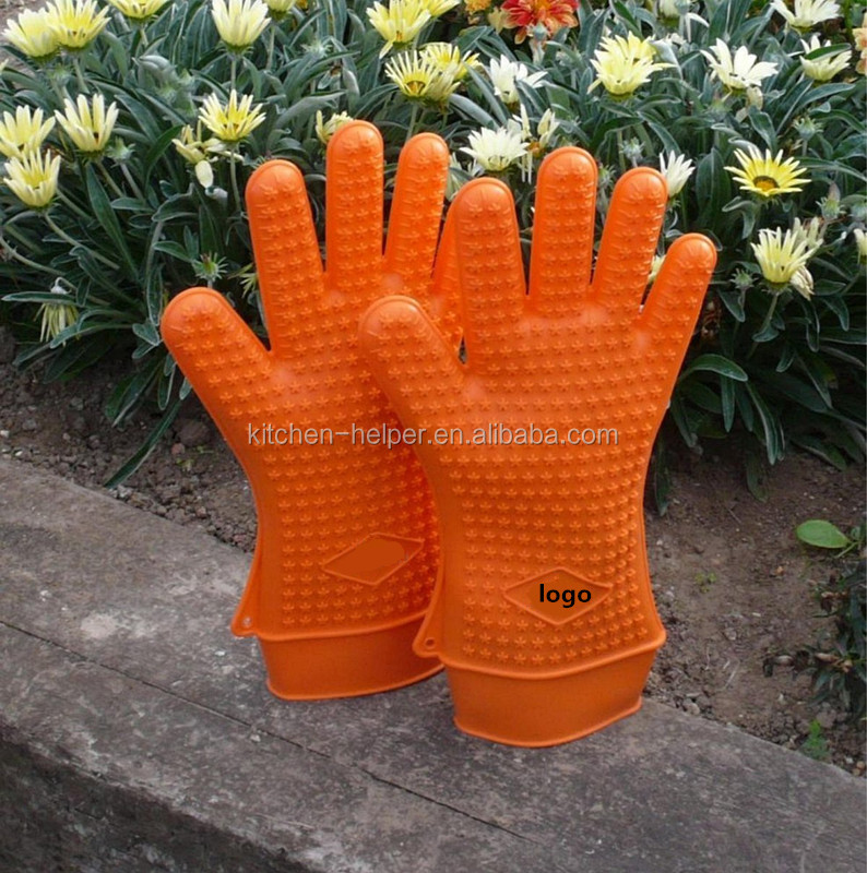Wholesale Factory Price Heat Resistant Food Grade Silicone Five Finger Oven Mitt/Silicone BBQ Grill Gloves