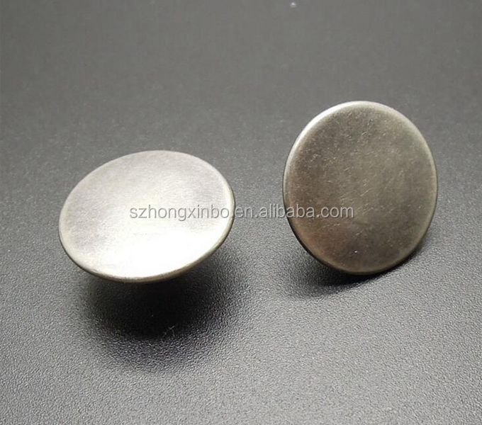 Hongxinbo brass material embossed logo no-sew metal jean tack button