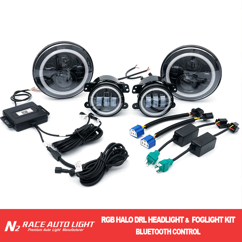 Factory directly sell 7'' round led rgb headlight for jeep with bluetooth control led fog light kits