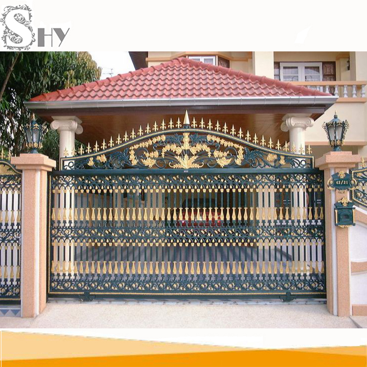 Simple sliding entrance wrought iron main gate design for
