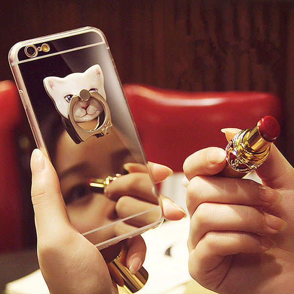 Luxury Sparkling Mirror Soft TPU <strong>Cover</strong> with Lovely Cat Finger Ring Buckle hold Phone Case For iPhone 5 5S 6 6S 7 Plus <strong>cover</strong> bag