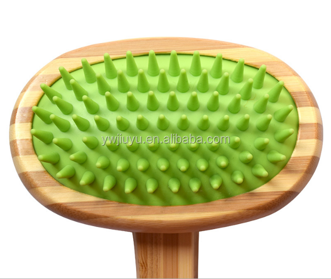 Competitive bamboo wooden pet hair massage comb, silicone air bag comb, dog grooming comb bath brush bath comb pet supplies