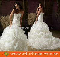Hot Sale Off Shoulder Beaded Ruffle Organza Mermaid Sweetheart Love Forever Wedding Dress