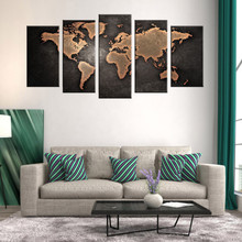 5 Pcs/Set Modern Abstract World Map Wall Art Painting World Map Canvas Printed Painting for Living Room Home Decor Picture