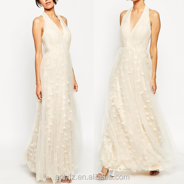 Anly wholesale hot sale sexy halter chest deep v-neck long maxi dress lace wedding dress