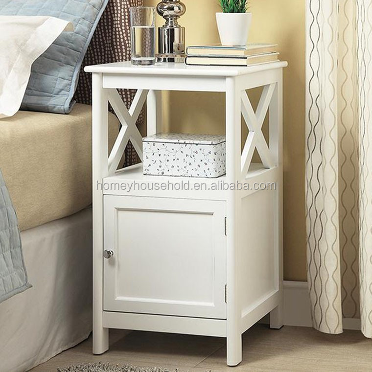 Sofa side accent table wood white end table living room cabinet furniture