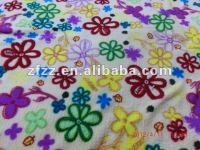 colorful flower print coral fleece fabric for blanket and bathrobe
