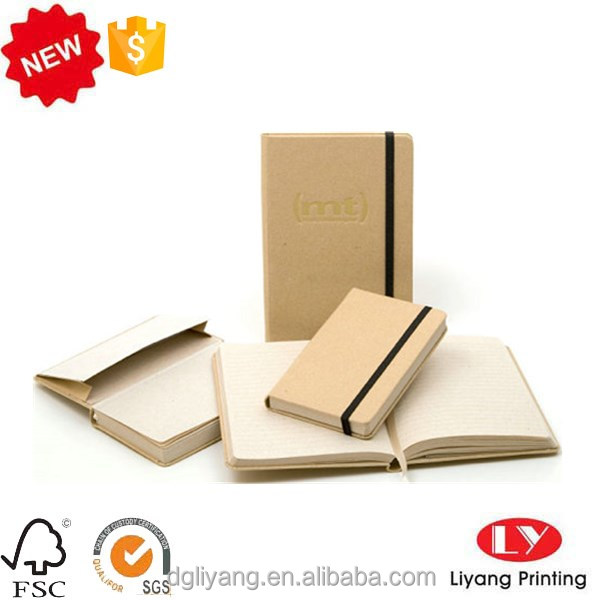 custom printed kraft paper cover notebook with elastic band for school office dairy