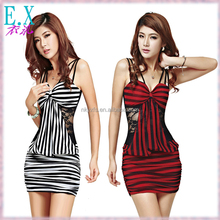 Women's Sexi Cotton Stripes Printing Lace Tight Waist Wrap Hip Bowknot Thin Straps Dresses for Night Club Wear Office Lady Style