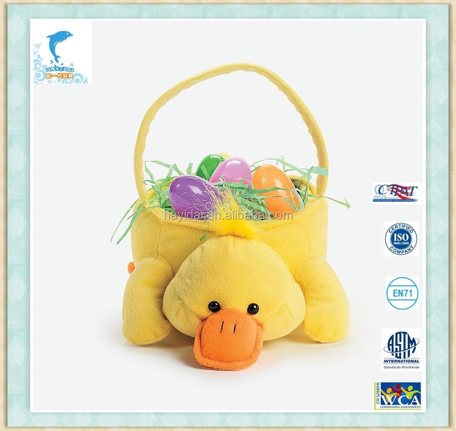 30cm Lovely Plush Duck with eggs Easter Basket Toys