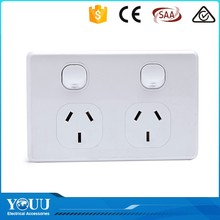 YOUU Import Asian Products PC Push Button 2 Gang 2 Way Wall Switch And Power Socket