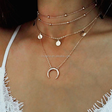 New arrival choker necklace Wafer Moon Alloy Pendant necklace Multi layer Ball Key Chain Necklace
