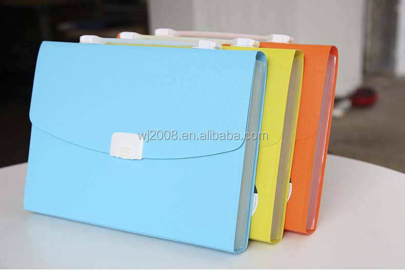 Colorful PP portable expandable A4 size 13 pockets box file brand new pp expanding file for 2015