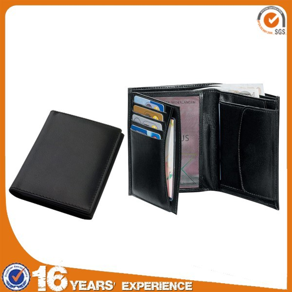 wholesale cheap branded pu fashion men slim genuine leather wallet manufacturer