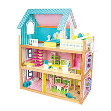 Best design toddlers pretend toys wooden crafted small dollhouse with furniture W06A231