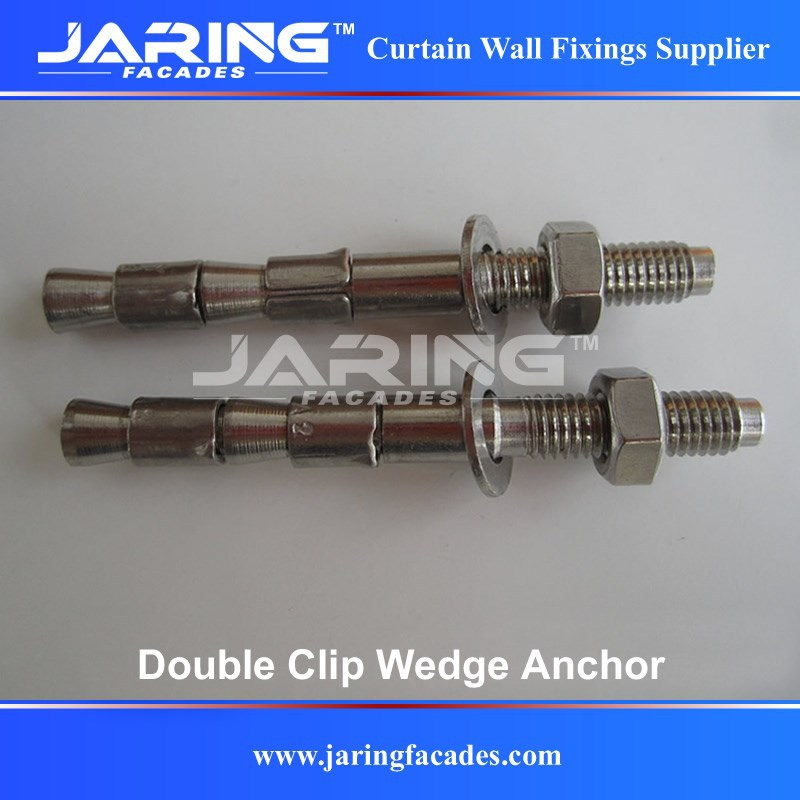 Stainless Steel AISI304/A2 316/A4 Double Clips Wedge Anchor,Heavy Duty Through Bolts for Wall Mounting M6 M8 M10