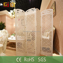 White indoor decorative conference room divider carving standing screen folding
