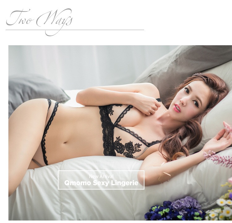 NEW! EMBROIDERED TRIANGLE LACE WIRELESS BRALETTE UNLINED BRA SET