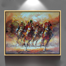 Palette knife Artwork abstract riding horse oil painting