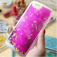 Glitter Stars Liquid Quicksand Floating For iPhone 5 Case