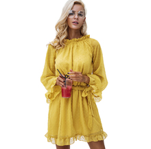 Girl Elegant Princess Dresses Woman backless Yellow Dress Long Flare Sleeve Vestidos Lace Up Mesh Dress