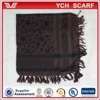 Polyester keffiyeh check pattern scarf knitting for man