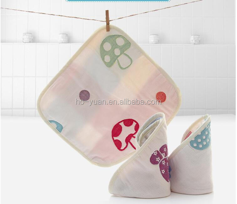 Cute mushroom square baby face towel cotton soft infant terry cloth