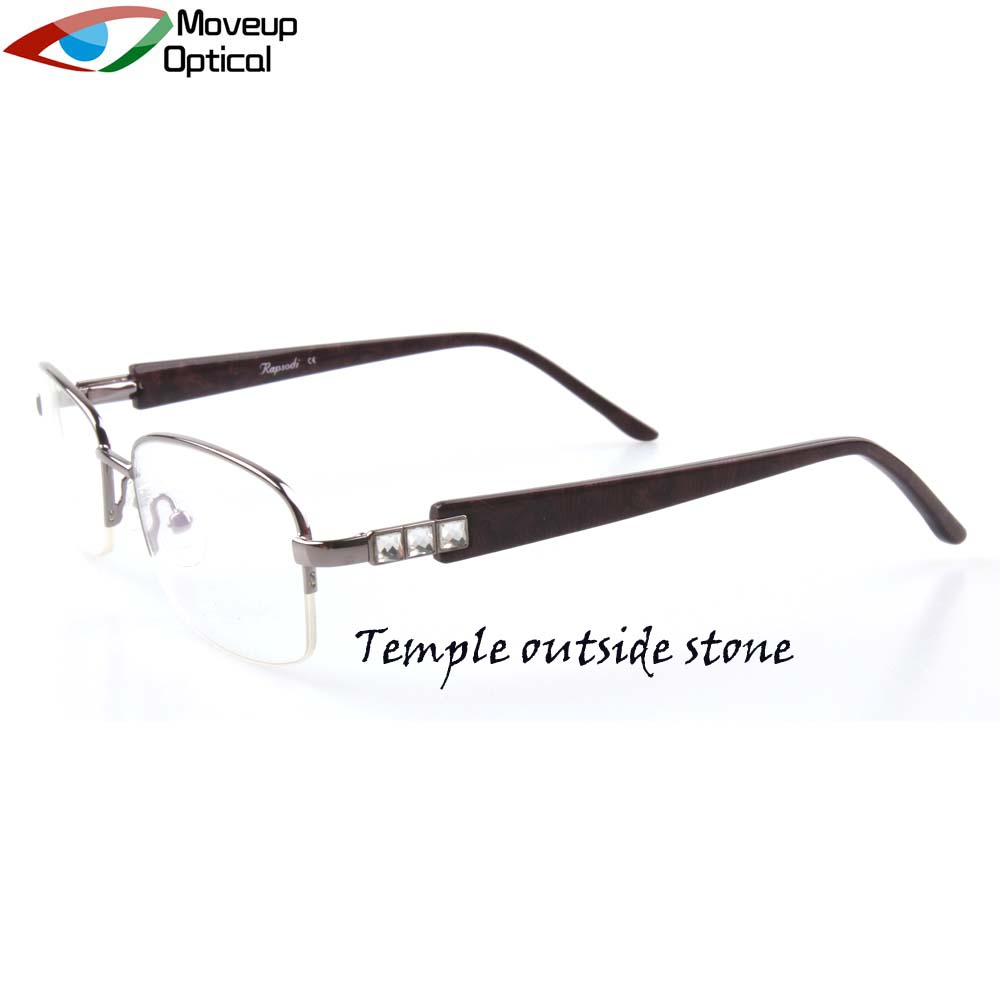 Classic Top Quality Metal Half Rim Eyewear Frame Gold Glasses for Women