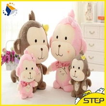 2016 Customized Valentine's Day Lovely Monkey Plush Toys Pink&Grey Plush Monkey Best Gifts for Kids and girls ST160307-1