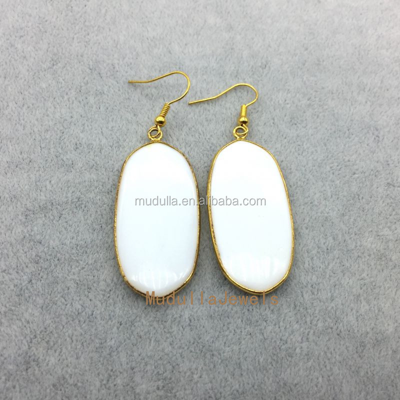 ER5377 Wholesale Gold Filled White Color RoundRect Gemstone Dangle Earrings White Ceramic Drop Earrings 44x21mm