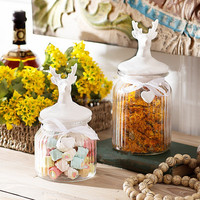 Ceramic lid and glass body made by borosilicate glass or crystal glass storage jar