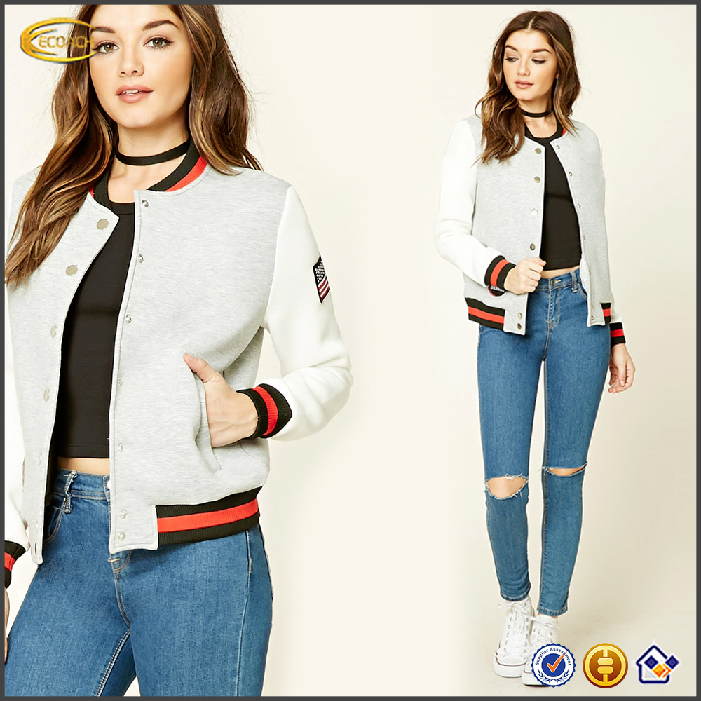 Ecoach high quality super comfort button front ribbed knit trim women plain custom wholesale varsity jacket