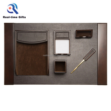 Handmade Brown Business Office Organizer 6 Pieces Wood And PU Leather Traditional Desk Accessories