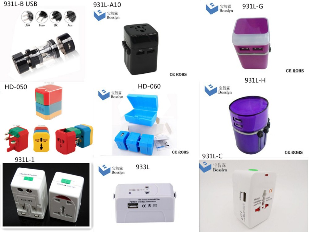 HOT SALE Gift travel adapter usb uk/ europe /usa /thailand travel plug adapter