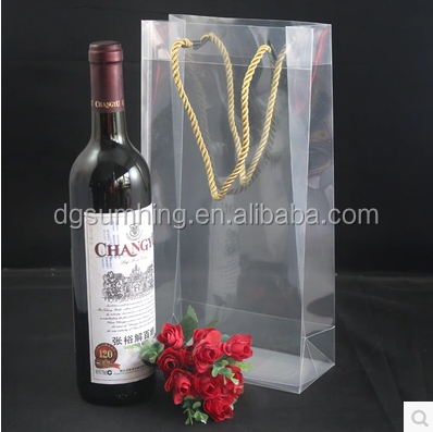 High quanlity clear plastic bag with handle for wine bottles shopping packaging bags