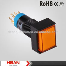 UL ISO HBS2JSeries 12mm rectangle light symbol,black body,latching or momentary,pin terminal,yellow colored led plastic switch