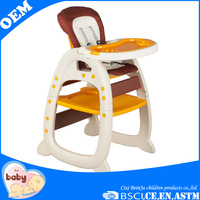 Non-toxic EN 14988 approved plastic multi-function baby highchair