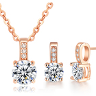 New Arrival Wedding Jewelry Set 은/rose gold Color Cubic 지르콘 Necklace/Earring set