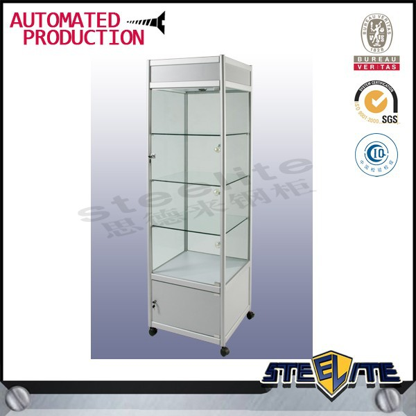 Tall Corner Glass Display Showcase Cabinet